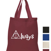 Always Cotton Tote ECO canvas school/ picnic book gift harry potter fan art Bag | eBay