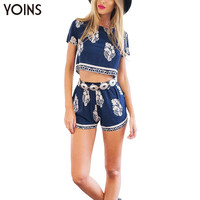 Women Fashion Foliage Print Crop Top Tee+Pant Shorts Set Ladies 2 Piece Sets Beach Wear