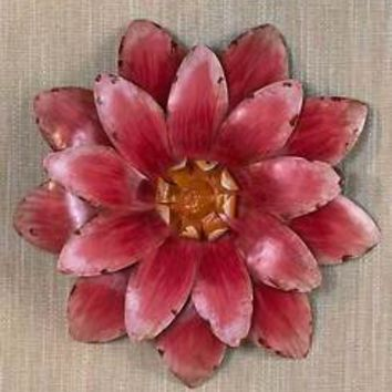 Pink Hand Painted Metal Wall Flower Sculpture Fence Patio Porch Art Garden Decor