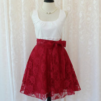 My Lady - White Top Burgundy Lace Skirt Spring Summer Party Dress Red Bridesmaid Floral Dress Burgundy Tea Dress Vtg Style Dresses XS-XL