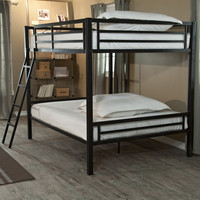 Modern Full over Full Bunk Bed with Ladder in Black Metal Finish