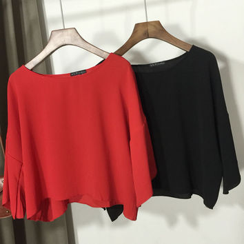 Drop Shouldered Flare Short Sleeve Crop Blouse