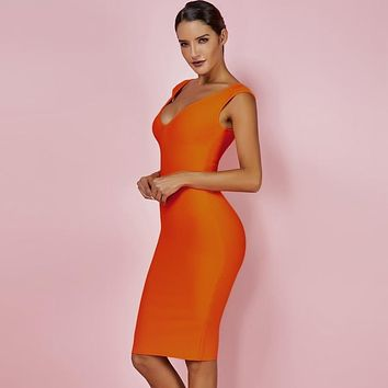 Wendi- V- Neck Bandage Dress