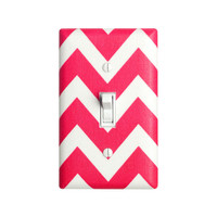 Chevron Light Switch Plate Cover / Bright Hot Pink and White / Zig Zags by Robert Kaufman / Slightly Smitten Kitten