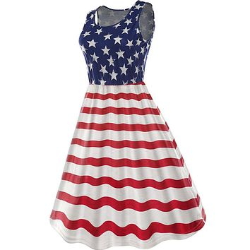 American Flag Casual Mini Dress