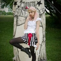 Gloomth's Haunted Circus- Sideshow Striped Bloomers with Ruffle Bum