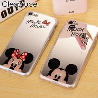 Fashion For iPhone X 7 8 Plus Mirror Case Mickey Minnie Mouse TPU soft Mobile Phone Cases For iPhone 7 5 5S SE 6 6S 6 Plus Cover