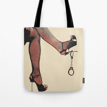 Dirty games, mistress and her toys. Naughty in heels and fishnets. BDSM cuffs, non nude bondage art Tote Bag by Casemiro Arts - Peter Reiss