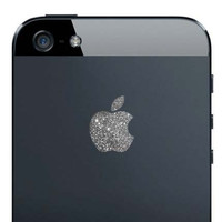 iPhone 5 Sparkling Silver Apple Decal by kellokult on Etsy