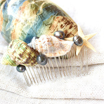 Real Black Pearls hairpiece-Beach wedding Hair Comb with sea shells-sea shell accessory-mermaid comb-sea star hair accessories-Hairpiece