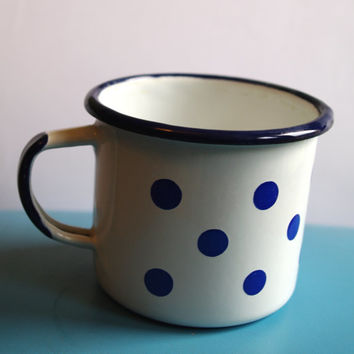 White Polka Dot Cup / Cute Soviet Vintage Enamel Camping Tea Cup Farmhouse Chipped cup White tin cup Mug with Blue Spots, Circa 1970's USSR