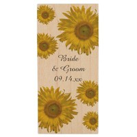 Yellow Sunflowers Wedding Wood USB 2.0 Flash Drive