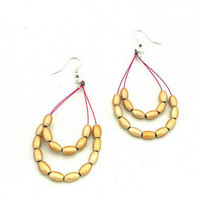 Teardrop Beaded Earrings - Layered Dangle Golden Drop Down Earring - Flirty Jewelry