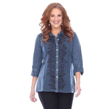 Parsley and Sage Liv Long Shirt in Denim