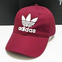 Adidas New Fashion Embroidery Letter Sunscreen Travel Couple Baseball Caps Hat Burgundy