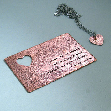 Wallet Card and Necklace Set - Hand Stamped Copper - Heart Cutout Monogram Necklace - Valentine's Day - Wedding - Engagement - Anniversary