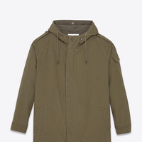 SAINT LAURENT MILITARY PARKA IN MILITARY KHAKI COTTON TWILL | YSL.COM
