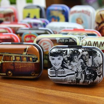 Premium Protable American Style Mini Travel Tin Box 1PC Zakka Vintage Small Metal Tins Storage Box Organizer Pill Case 2016 New