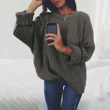 Women Clothing Loose Solid Pullovers Knitwear Autumn Winter Sweater Jumper 7 Colors