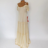 NOS Vintage 1970s Dana Ellyn Young Reflections Bohemian Goddess White Maxi Dress Wedding Gown Sundress Princess Bride Hippie 70s Prom Gown