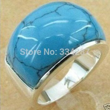 Jewellery pretty silver turquoises men's ring Ring Size,8,9,10,11,12
