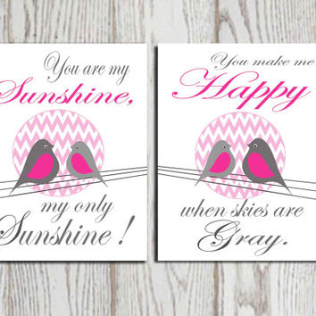 You are my sunshine Chevron Pink and gray Set of 2 Nursery wall art print Bird wall art Birds on a wire Girls bedroom decor Gift DOWNLOAD