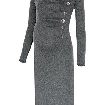 BlackCherry Womens Long Sleeve Cowl Neck Buttons Maternity Dress