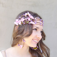 Whimsical Flower Crown, Bridal hair crown, Wedding flower head piece, Bridal flower crown, Pink Calla Lilly and purple berries