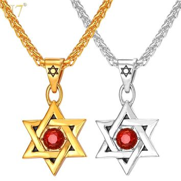 U7 Jewish Jewelry Magen Red Star of David Necklace Gold Color Stainless Steel Pendant & Chain Israel Jewelry For Men/Women P805