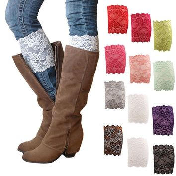 New Spring& Fashion Boot Cuffs Lace Pattern Calf Band 15cm Width Leg Warmers Women Girls Floral Lace Boot Socks 6ZBA144