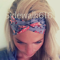 Peach and Grey Floral Headband Turban Headwrap
