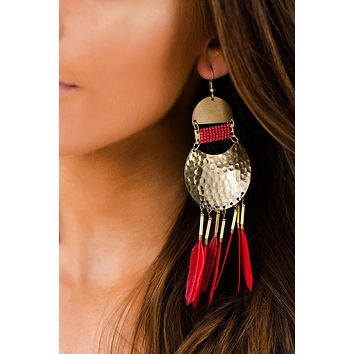 Fiery Feather Drop Earrings (Red)
