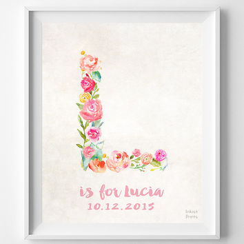 Nursery Art, Print, Lucia, Custom Name, Personalized, Lily, Laura, Lauren, Lisa, Leah, Lucy, Leslie, Gift, L, Baby, Initial, Girl