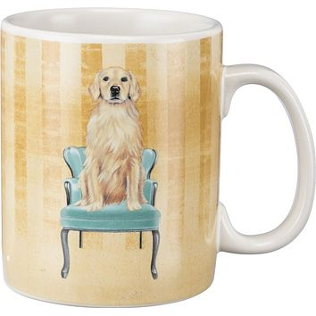 Golden Retriever And Fancy Chair Wrap-Around Design Stoneware Coffee Mug