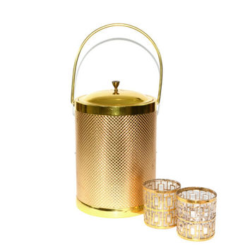 Ice Bucket Gold Ice Bucket Brass Ice Bucket Tall Ice Bucket Champagne Ice Bucket Italian Ice Bucket Barware Bar Cart Accessories