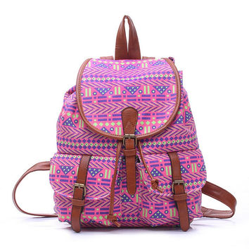 Women's Large Canvas Ehnic Tribal Aztec Daypack Backpack Travel Bag