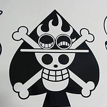 One piece monkey anime Jolly Rogers Ace of spades pirate flag decal sticker