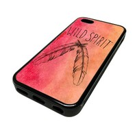 Apple iPhone 5C 5 C Case Cover Wild Spirit Red Watercolor Hipster DESIGN BLACK RUBBER SILICONE Teen Gift Vintage Hipster Fashion Design Art Print Cell Phone Accessories