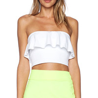 Susana Monaco Ruffle Tube Crop Top in White