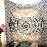 Ombre Tapestry Wall Hanging Bedspread Bedsheet Mandala Hanging Wall Decor Beach Throw