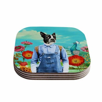 "Natt ""Family Portrait N3"" Blue Dog Coasters (Set of 4)"