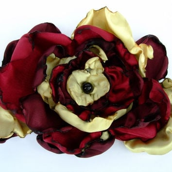 Wedding Hair Flower, Burgundy, Deep Red, Golden Yellow, Bridesmaids, Hair Clip, Pin Brooch, Maternity Sash, Dance Recital, Cake topper