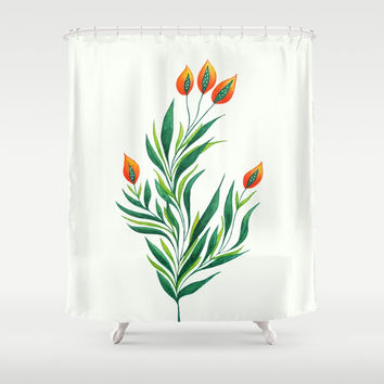 Abstract Green Plant With Orange Buds Shower Curtain by borianagiormova