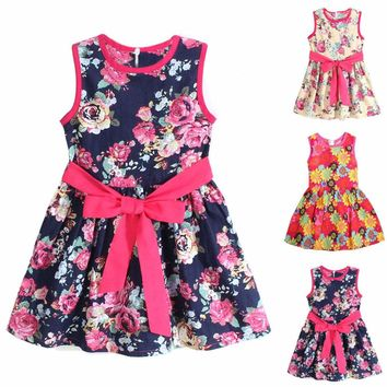 Kids Girls Sleeveless Floral Princess Tutu Dress Party Evening Wedding Sun DRESS