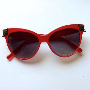 OOAK Red Cat eye Spaced out Embellished Sunglasses