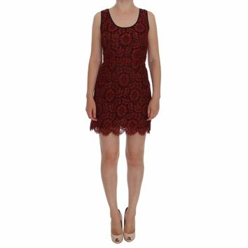 Dolce & Gabbana Red Floral Lace Short Mini Shift Dress