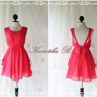 A Party V Shape Style - Prom Party Cocktail Bridesmaid Dinner Wedding Night Dress Fresh Cerise Pink Toned Sweet Gorgeous Glamorous Dress