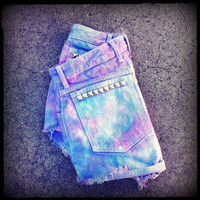 Vintage High Waisted Studded Ombre Tie Dye Cut by TrueBlueDryGoods