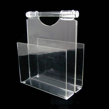 Clear Caddy - Vintage 1970s Lucite Napkin Holder, Mid Century Modern Tableware, Beautiful Display for Vintage Napkins