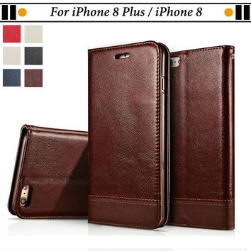 JURCHEN For Funda iPhone 8 Plus Silicone Case Luxury Flip Leather Cover For iPhone 8 Wallet Coque For iPhone 8 Plus Case Cover